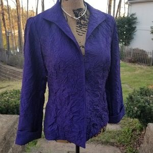 CHICO'S ROYAL PURPLE ROUCHED JACKET
